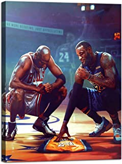 Michael Jordan & Kobe Bryant & Lebron James Posters Prints on Canvas Wall Art for Living Room Home Decor Basketball NBA Le...
