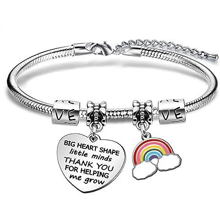 JIYAOANDX - Pulsera para profesores con abalorio en forma de corazón grande con texto en inglés «Thank you» y «Little Minds», abalorio en forma de arcoíris