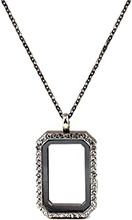 Paialco DIY Rectangle Glass Floating Living Memory Charms Locket Pendant Necklace