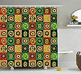 Cortina de Ducha Tribal con diseño de Figuras abstractas con triángulos Cultivos Hieroglyphe Artsy Print plástico Cuarto de baño decoración Set con Verde Rojo