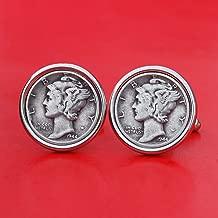 US 1944 Mercury Dime 90% Silver 10 Cent Coin Cufflinks NEW - Beautiful