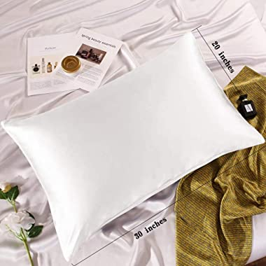 Adubor 100% Mulberry Silk Pillowcase for Hair and Skin with Hidden Zipper, Both Side 23 Momme Silk,900 Thread Count(20x30inch
