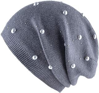New Ladies Imitation Rabbit Fur Knit hat Autumn and Winter Warm hot Diamond Pearl Cap