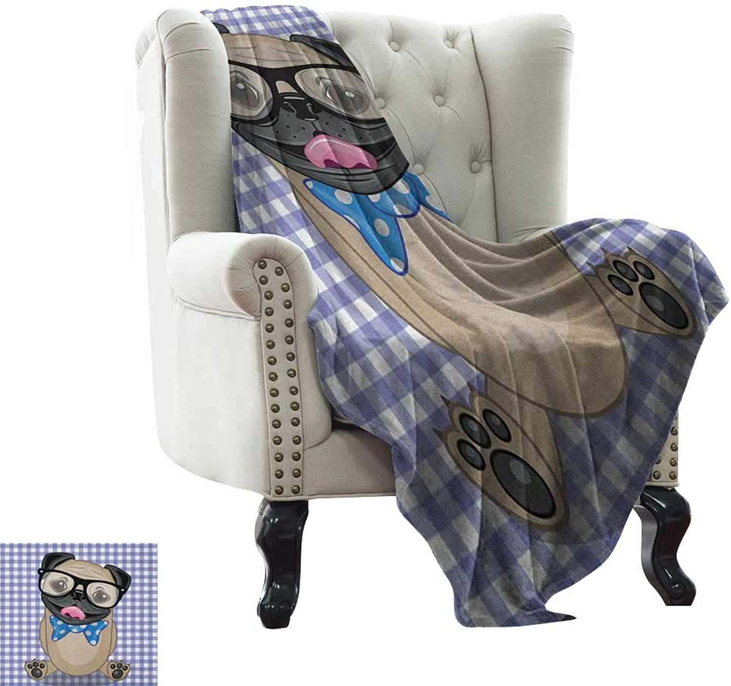 Weighted Blanket for Kids Pug,Nerdy Glasses and Dotted Bow Tie on a Puppy Pug with a Checkered Backdrop, Sand Brown Black bluee Super Soft and Comfortable,Suitable for Sofas,Chairs,beds 60 x62