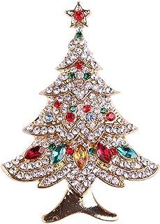 FENICAL Broche de árbol de Navidad Broche de Cristal de Navidad Pin Breastpin Joyería del Partido Ropa Accesorios Corsage ...