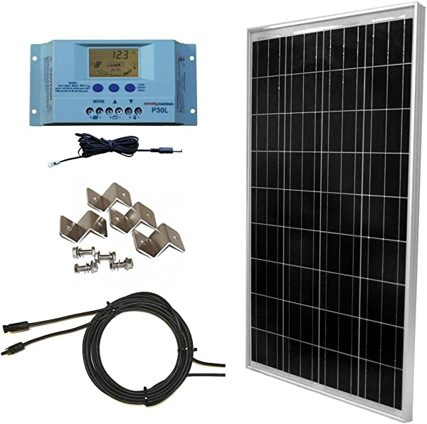 WindyNation 100 Watt Solar Panel Off Grid RV Boat Kit With LCD PWM Charge Controller Solar Cable MC4 Connectors Mounting Brackets