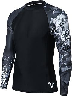 HUGE SPORTS Mens Wildling Series Quick Dry Compression MMA BJJ Rash Guard Rashguard Swim Swimming Surfing Shirt Tee Long S...