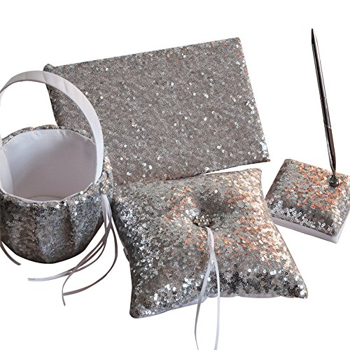 Dollbling Fashion Shiny Sequin Wedding Flower Girl Basket + Ring Pillow +Guest Book + Pen Holder Set ,Silver