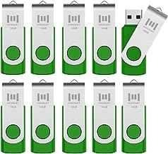 10 X MOSDART 16GB USB2.0 Flash Drives in Bulk Swivel Design Thumb Drives with Led Indicator,Green 10pack