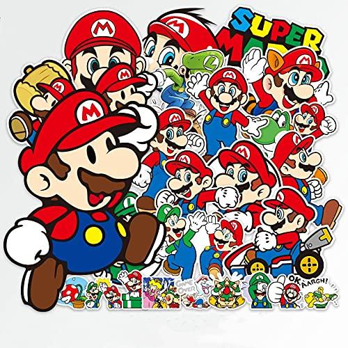 BUCUO Post-80S Mario Lindo Dibujos Animados Maleta Pegatina Pintura Maleta Cuaderno Marca Marea Trolley Caso Impermeable 27 Uds