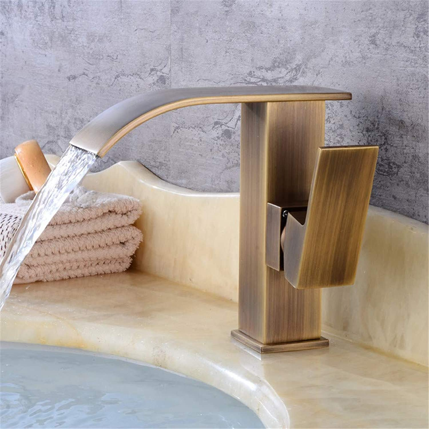 Falls On Stage Personality Brass Wash Basin Faucet Bathroom Vanities Bathroom Cabinet Continental Antique Paint Mixer B (color   B, Size   -)