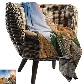 EwaskyOnline Great Wall of China Sofa Cushion Legendary Dynasty Monument on Cliffs Historical Countryside Art Design Throw Blanket Adult Blanket 91
