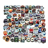 National Park Sticker Pack Set 100 pcs, Outdoor Nature Adventure Hiking Camping Wilderness Stickers, Waterproof Vinyl Travel Stickers Decals for Water Bottle Laptop Car Bumper Luggage Phone Case Bike