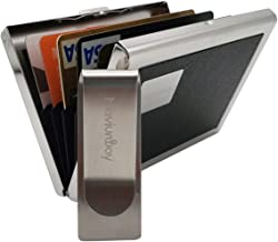 Naviurway RFID Blocking Credit Card Wallet Stainless Steel Business Card Holder Debit Card Protective Cage with Metal Money Clip for Men and Women