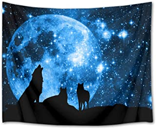 HVEST Wolf Tapestry Wolves on Mountain Wall Hanging Full Moon in Starry Sky Tapestries for Kids Bedroom Living Room Dorm Party Wall Decor,60Wx40H inches