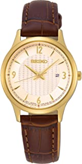 Seiko neo Classic Womens Analog Quartz Watch with Leather Bracelet SXDG96P1