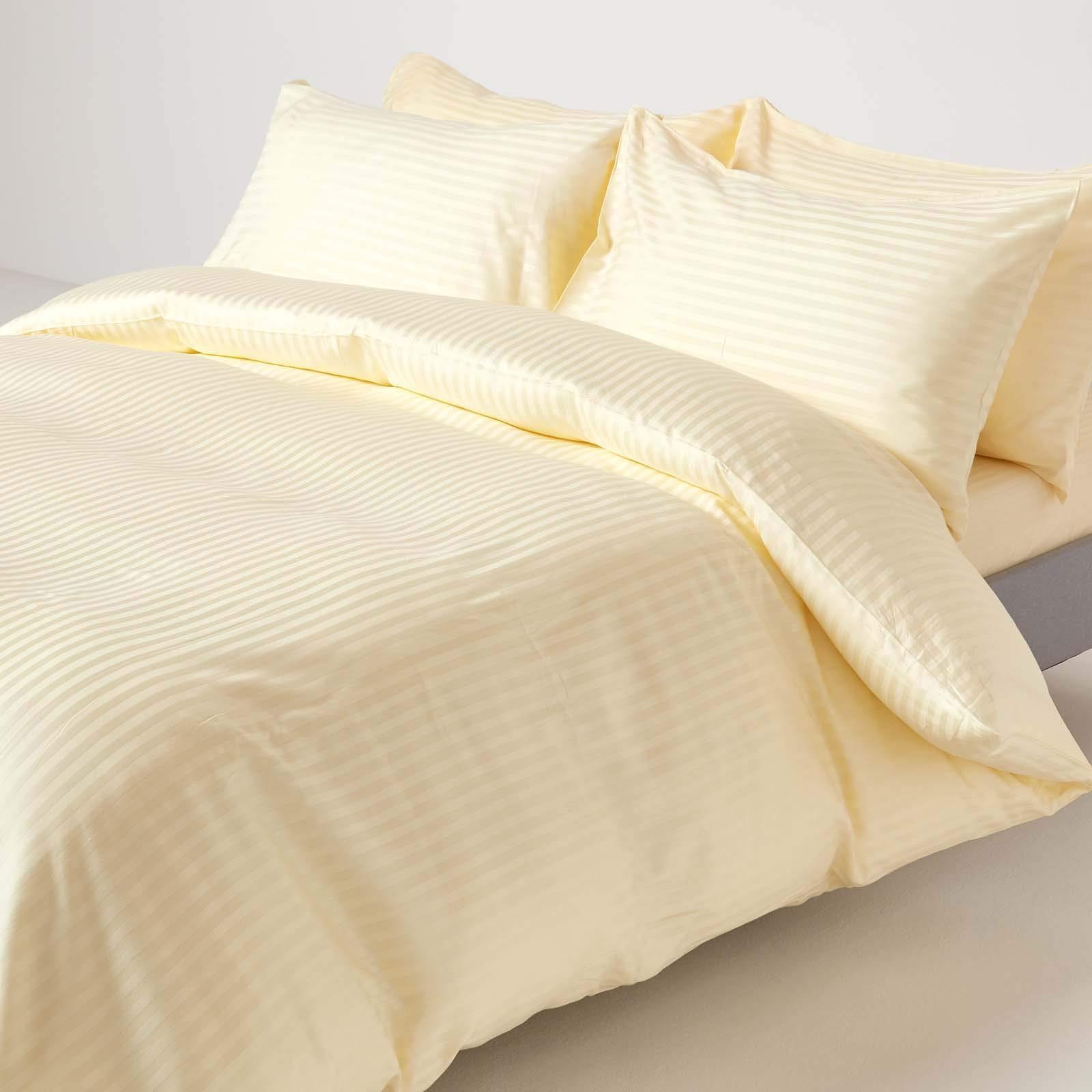 Homescapes Funda Nórdica Color Crema Rayas de Satén 220 x 230 cm y sus fundas de almohada 50 x 75 cm en 100% algodon egipcio con una densidad de tejido 130 hilos/cm²: Amazon.es: Hogar