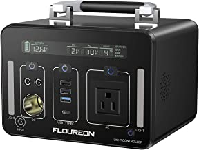 floureon Portable Power Station Generator Power Supply Solar with 110V AC Outlet, Type C, QC3.0, 12V/24V DC Output, LED Flashlight, Charged by Solar Panel/Wall Outlet/Car Charger