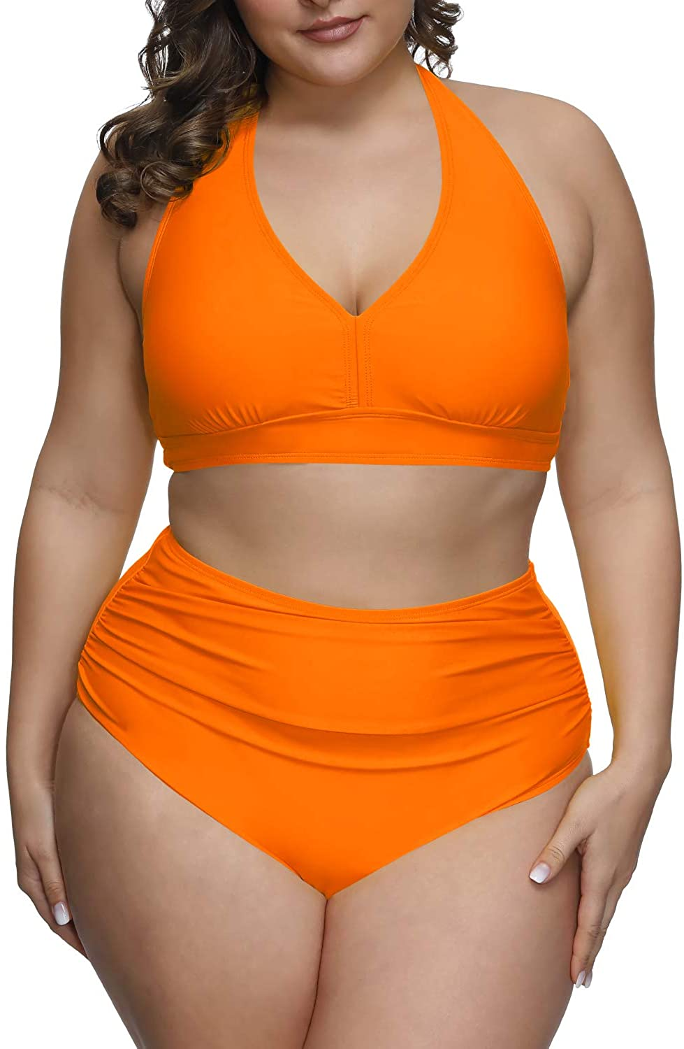 Pink Queen Women's 2 Piece Plus Size High Waisted Swimwear Swimsuits Ruched Tummy Control Bikini Set