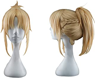 Mordred Wig Fate Cosplay Golden Hair Saber of Red Anime Costume Accessories Props