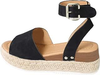 Womens Espadrille Summer Adjustable Buckle Platform Sandals with Ankle Strap Casual Wedge Flatform Shoe