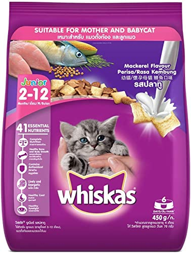 Whiskas Kitten (2-12 months) Dry Cat Food, Mackerel Flavour, 450g Pack