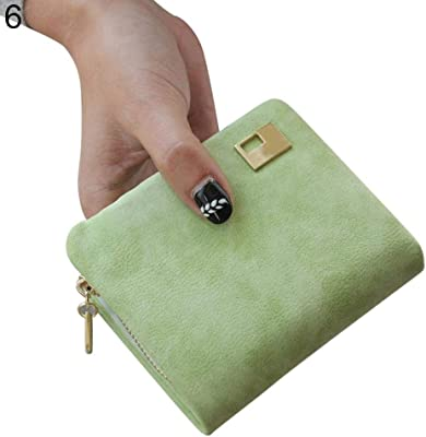 lightclub Solid Color Women Faux Leather Mini Wallet Coin Purse Card Holder Zipper Clutch Green