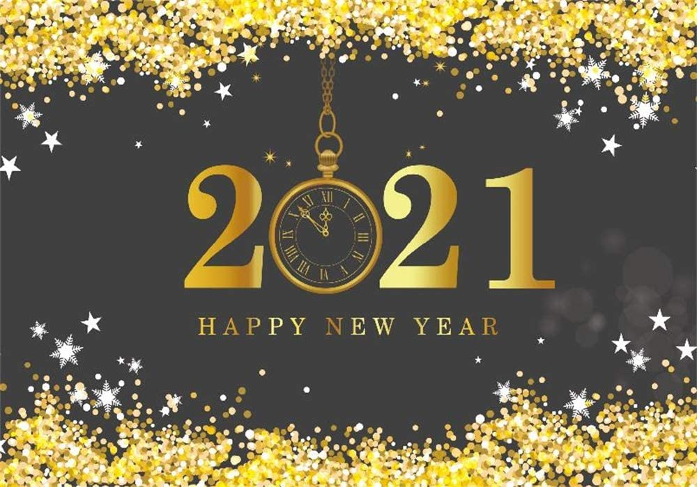 AOFOTO 2020 New Year Backdrop 15x8ft Clock Snowflake Happy Chinese Spring Festival New Years Eve Background for Photography Kids Photo Studio Props Vinyl Mall Store Compnay New Year Poster Banner