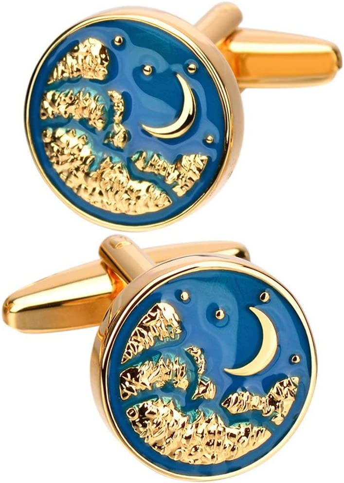 BO LAI DE Men's Cufflinks Metallic Blue Moon Cuff Links Suitable for Business Events, Meetings, Dances, Weddings, Tuxedos, Formal Wear, Shirts, with Gift Boxes