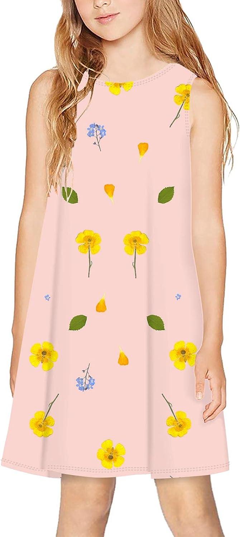 CAPINER 3D Print Girls Sleeveless Dress,Summer Cute Flowers Casual Dress Crewneck