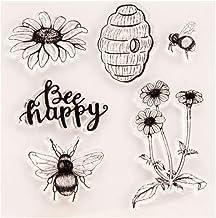 Horoshop Selo de silicone transparente para cartões, faça você mesmo, scrapbook, cartão de foto, álbum, flor de abelha