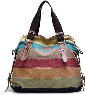 Women's Vintage Tote Bag Fashion Canvas Casual Multi-Color Striped Shoulder Purse Bag Shoulder Bag