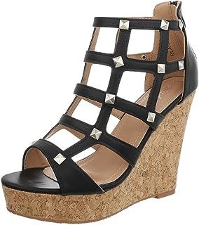 Ital-Design Keilsandaletten Damenschuhe Keilabsatz/Wedge Keilabsatz Reißverschluss Sandalen & Sandaletten