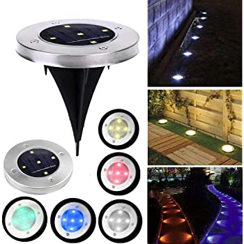 Leoneva 1pc Home Garden Solar Power 5 LED Buried Light Outdoor Lawn Underground Park Lamp Path Lights