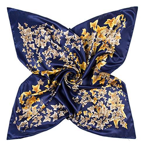 DAMILY Femmes Écharpe Bandana avec Motif Coloré Feuille Soie Aimer Grand Carré Satiné Foulard Tête 90 * 90cm (BleuMarine)