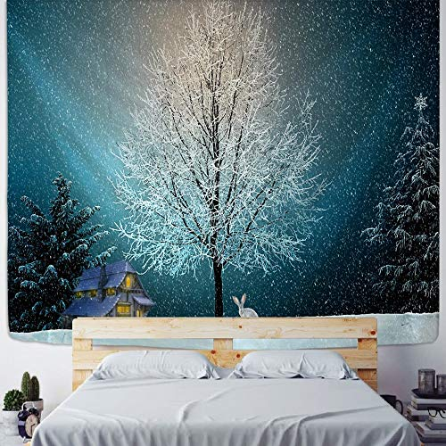 PPOU Tapiz de Pared de Escena psicodélica Chimenea de Navidad decoración del hogar Tapiz árbol de Navidad Tela de Fondo Bohemio A3 150x200cm