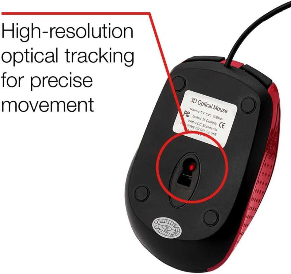Verbatim Corded Notebook Optical Mouse - Red
