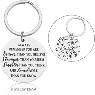 Inspirational Keychain for Women Men Teen Girls Boys Birthday Graduation Gifts for Son Daughter Encouragement Christmas Gifts for Him Her Family Best Friend Always Remember You are Braver