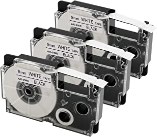 3 Pack Replace Casio XR-9WE XR-9WE2S 9mm Black on White Labeling Tapes Compatible with Casio KL-120, KL-60, KL-100, KL750B, KL750, KL7200 Label Makers, 3/8 Inch x 26 Feet