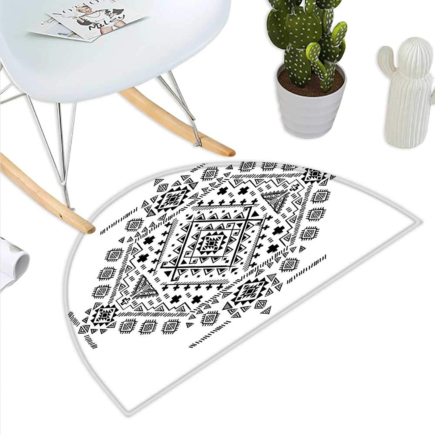 Mexican Semicircle Doormat Ancient Maya with Prehistoric Geometric Form Triangles Lines and Squares Print Halfmoon doormats H 43.3  xD 64.9  Black White
