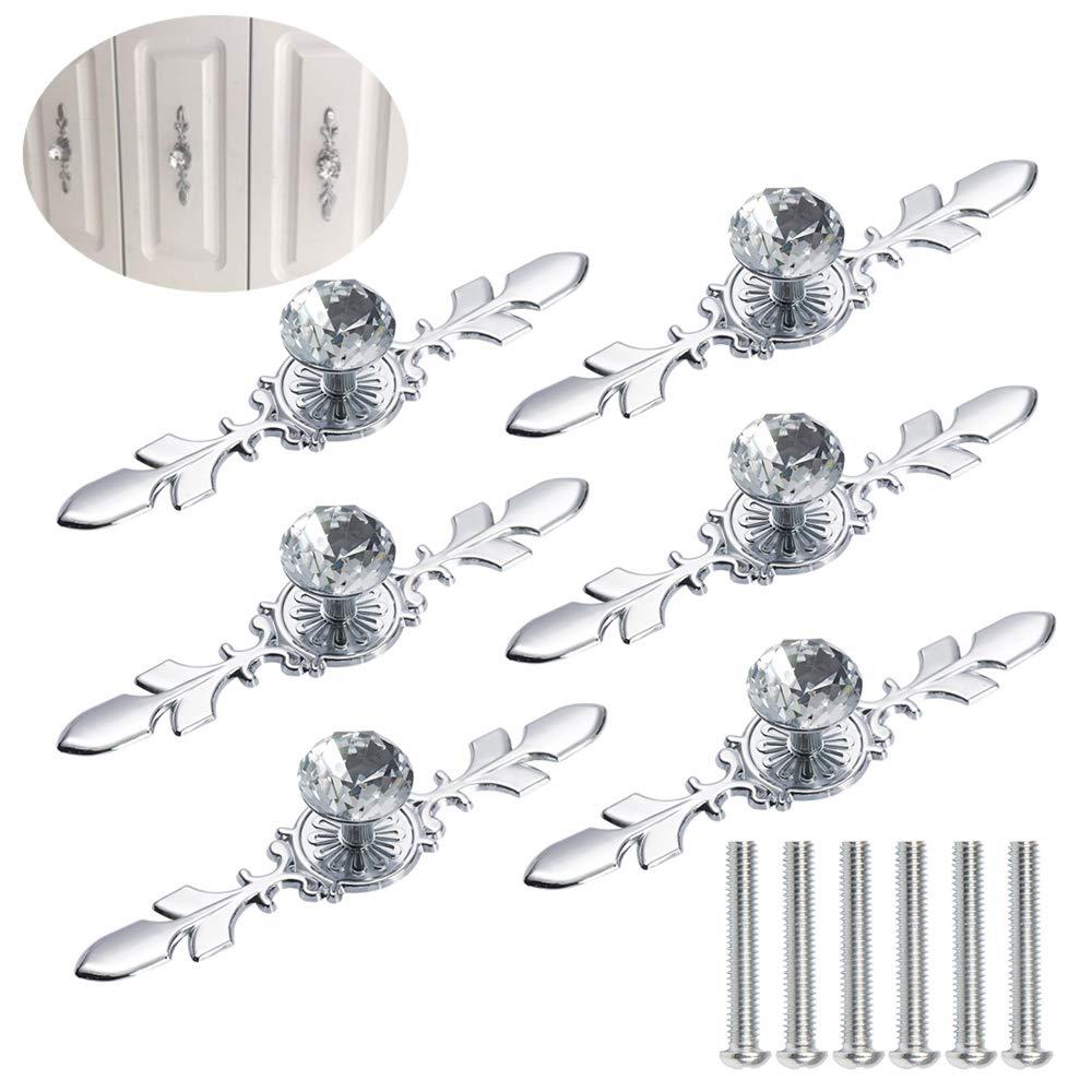 Anyasen tiradores de muebles 6 piezas Diamante Muebles Tiradores ...