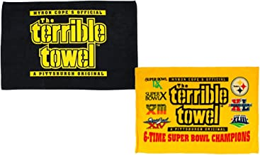 Terrible Towels Official Pittsburgh Original Black Plus 6X Champs