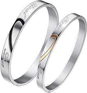 JewelryWe Gioielli a Forma di Cuore Acciaio Inossidabile Real Love Inciso Scolpito Bracciali Coppia Colore Argento, Bracci...