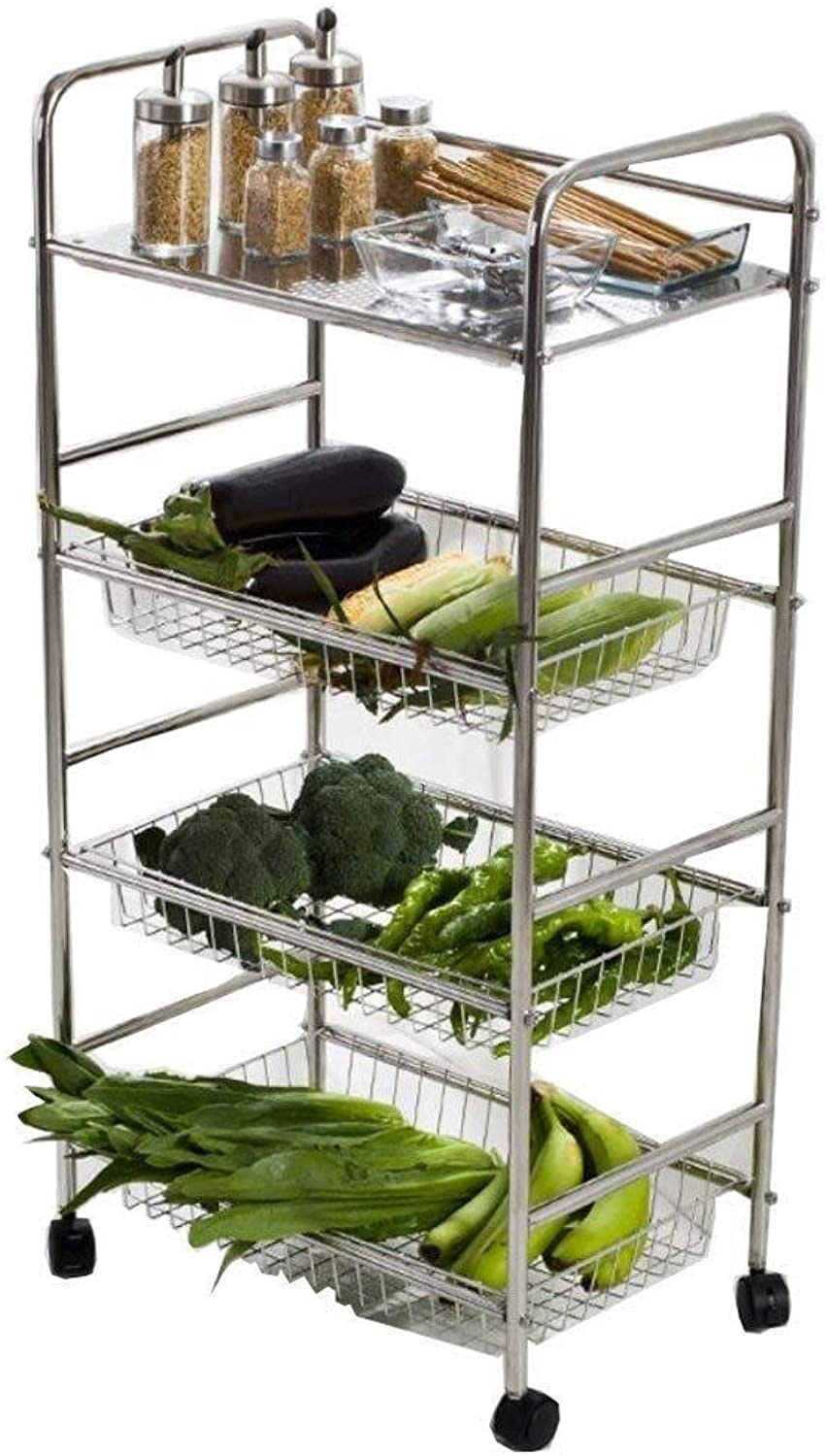 Storage Rack- 304 Stainless Steel Kitchen Rack Floor Multi-Layer Removable Household Storage Basket Put Fruit and Vegetable Basket Shelf ZXMDMZ