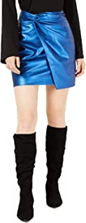 Bar III Women's Metallic Twisted Faux Leather Mini Skirt, Blue Voyage, 12