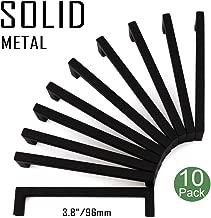 Koofizo Solid Square Bar Cabinet Handle - Black Furniture Pull, 3.8 Inch/96mm Screwhole Distance, 10-Pack for Kitchen Cupboard Door, Bedroom Dresser Drawer, Bathroom Wardrobe Hardware