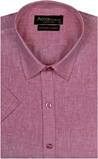 ACCOX Half Sleeves Solid Formal Regular Fit Cotton Linen Shirt for Men