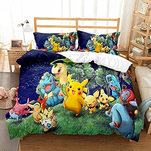 HNFY Pikachus dekbedovertrekset, 3D-anime-pokémons, 140 x 200 cm, superzacht microvezel dekbedovertrek, kussensloop…