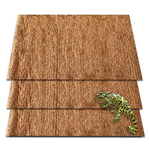ZeeDix 3pcs Natural Coconut Fiber Reptile Carpet Mat- Pet Terrarium Substrate Liner Bearded Dragon Flooring Supplies for Lizard Snake Turtle Bunny Turtles Iguana Gecko(19.7in x 15.7in)