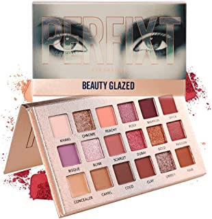 Beauty Glazed Glitter Shimmer High Pigmented Eyeshadow Palette 18 Matte Shimmer Colors Long Lasting Perfect Mix Makeup Palette Powder Pink Shades Eye shadow Pallete Beauty Cosmetic